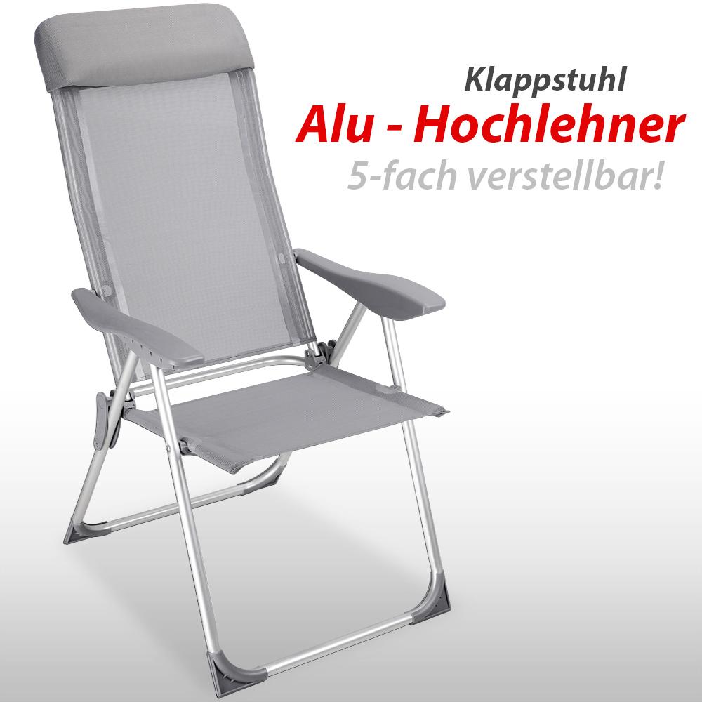 88101412 4x Gartenstuhl aus Alu Hochlehner 60 x 109 cm