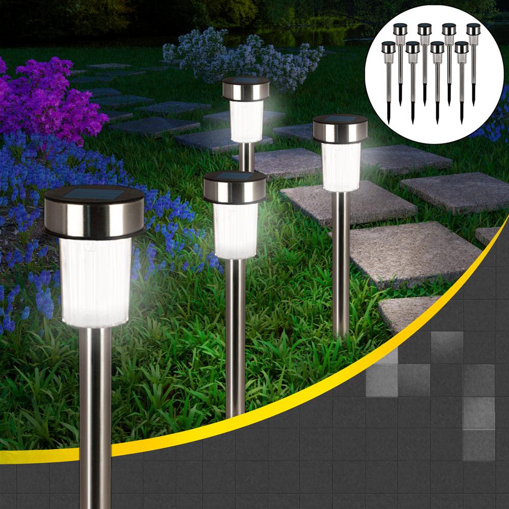 8x lampes solaires led en inox clairage ext rieur jardin rechargeable solaire ebay. Black Bedroom Furniture Sets. Home Design Ideas