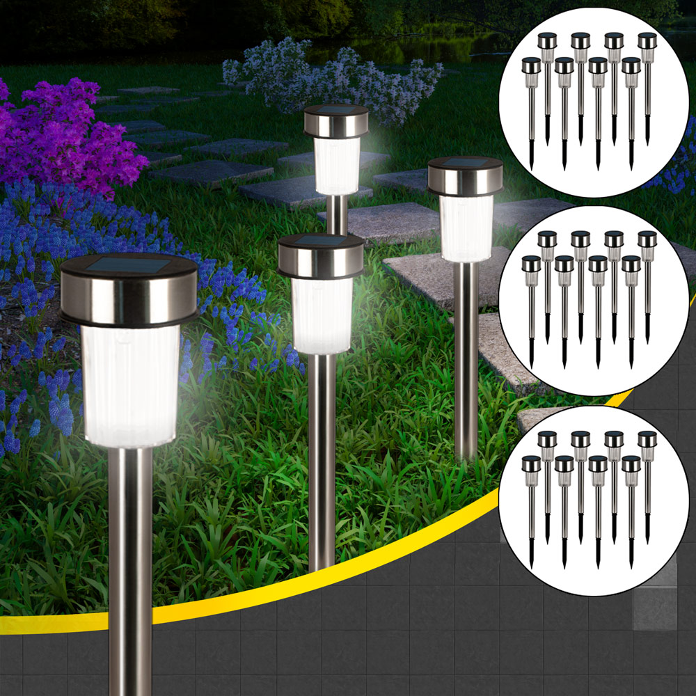 24x lampe solaire led clairage ext rieur jardin lumi re rechargeable inox ebay. Black Bedroom Furniture Sets. Home Design Ideas