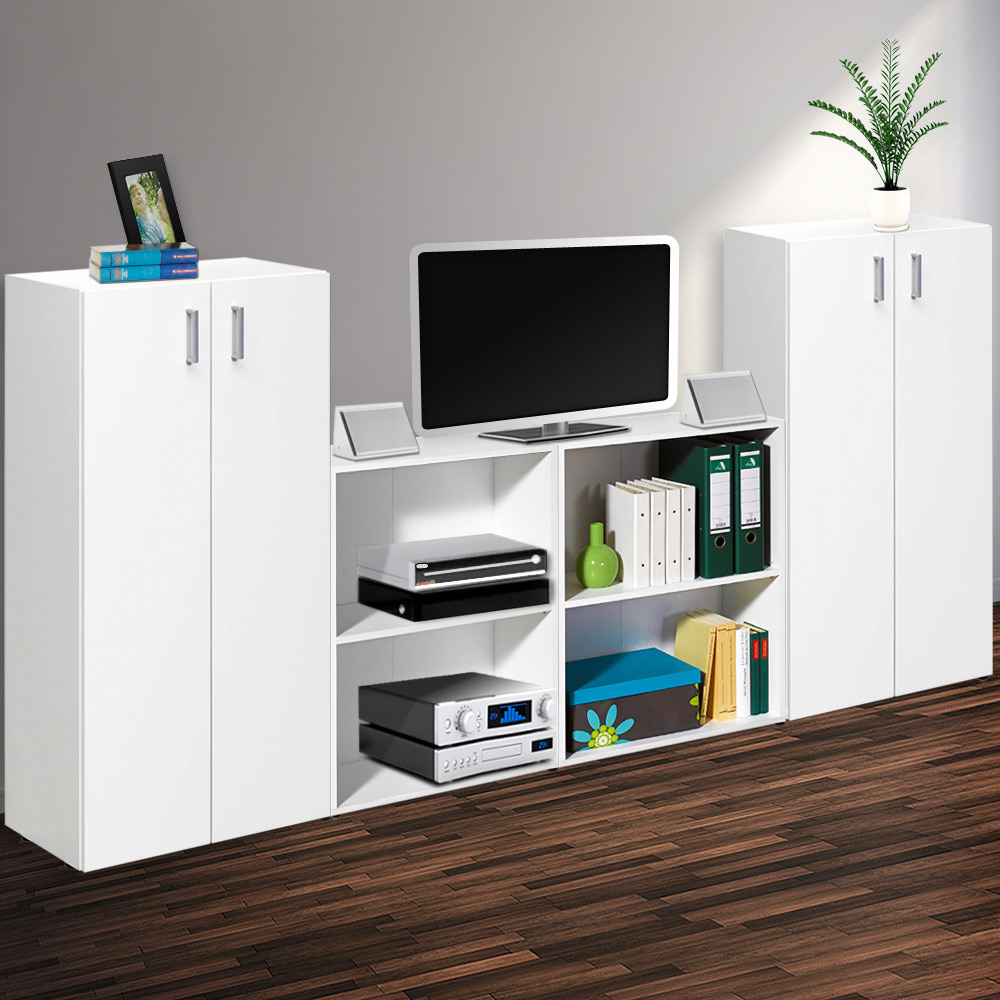 trio regal schrank wohnwand anbauwand wandregal schrankwand wandschrank t ren ebay. Black Bedroom Furniture Sets. Home Design Ideas