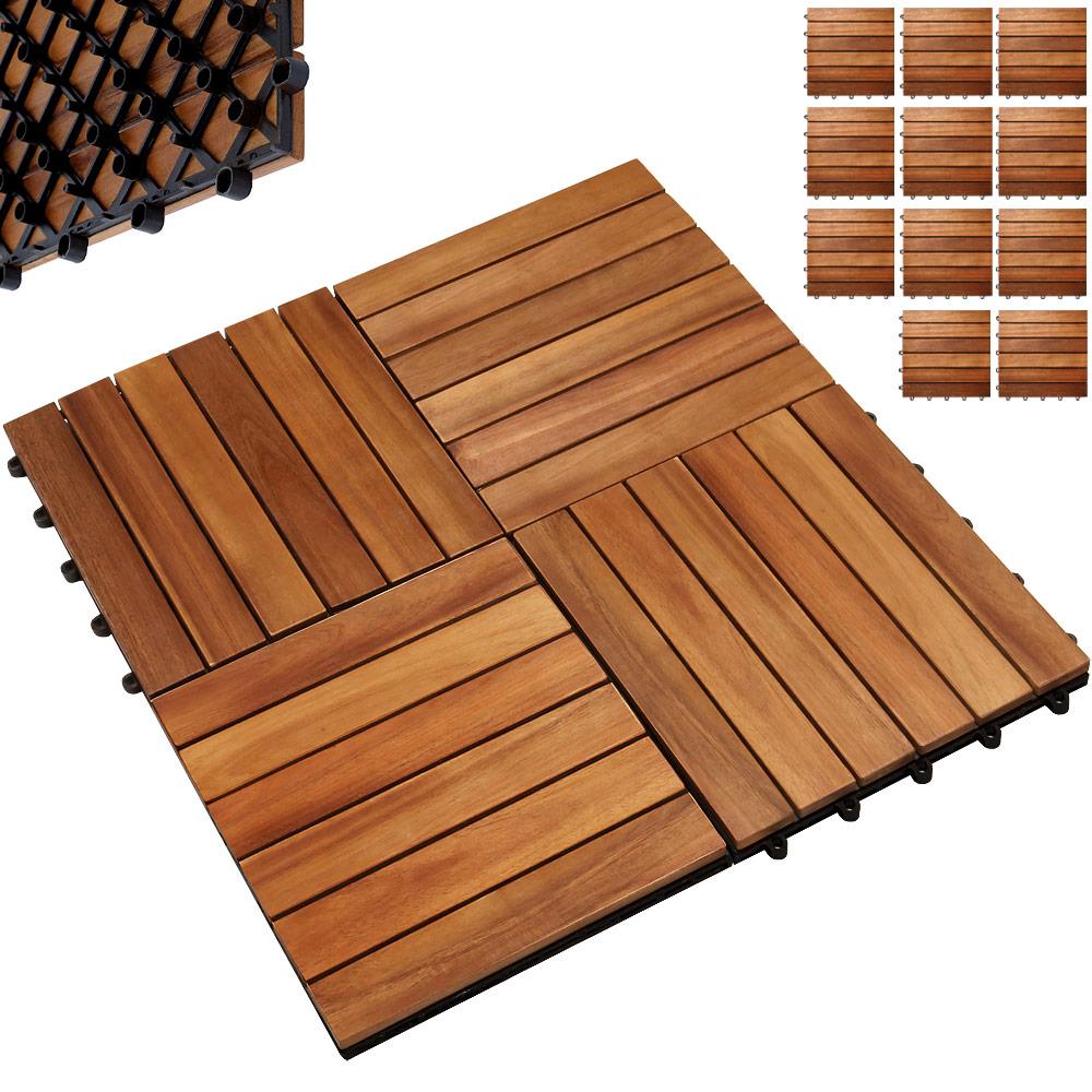 Dalle En Bois Jardin détails sur 11x dalles de terrasse en bois d'acacia pour 1m² - 30 x 30 cm  jardin extérieur