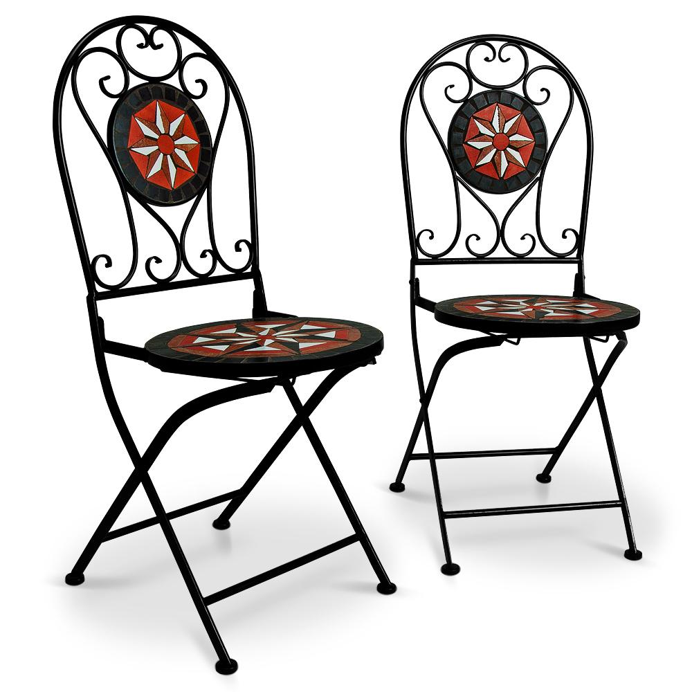Ensemble table 2 chaises mosa que jardin salon terrasse for Table exterieur orientale