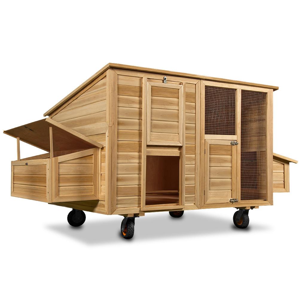 poulailler mobile sur roues 223x152x118 cm abri poules avec 2 pondoirs nichoirs. Black Bedroom Furniture Sets. Home Design Ideas