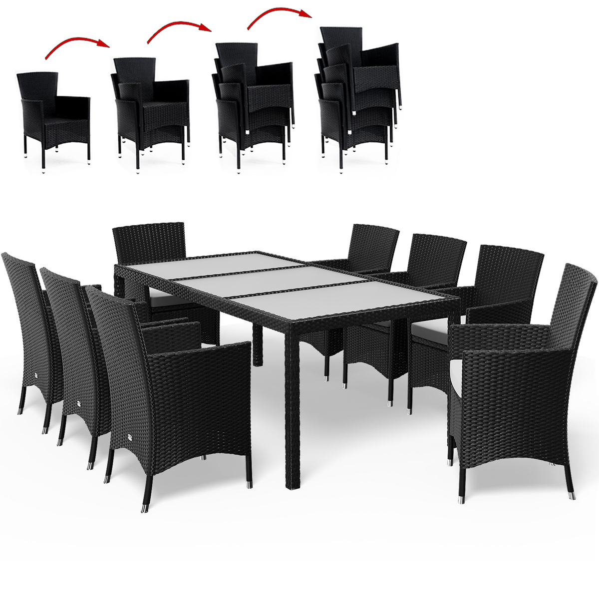 salon de jardin 17 pcs ensemble table 8 chaises alu polyrotin verre ext rieur 4250525332155. Black Bedroom Furniture Sets. Home Design Ideas