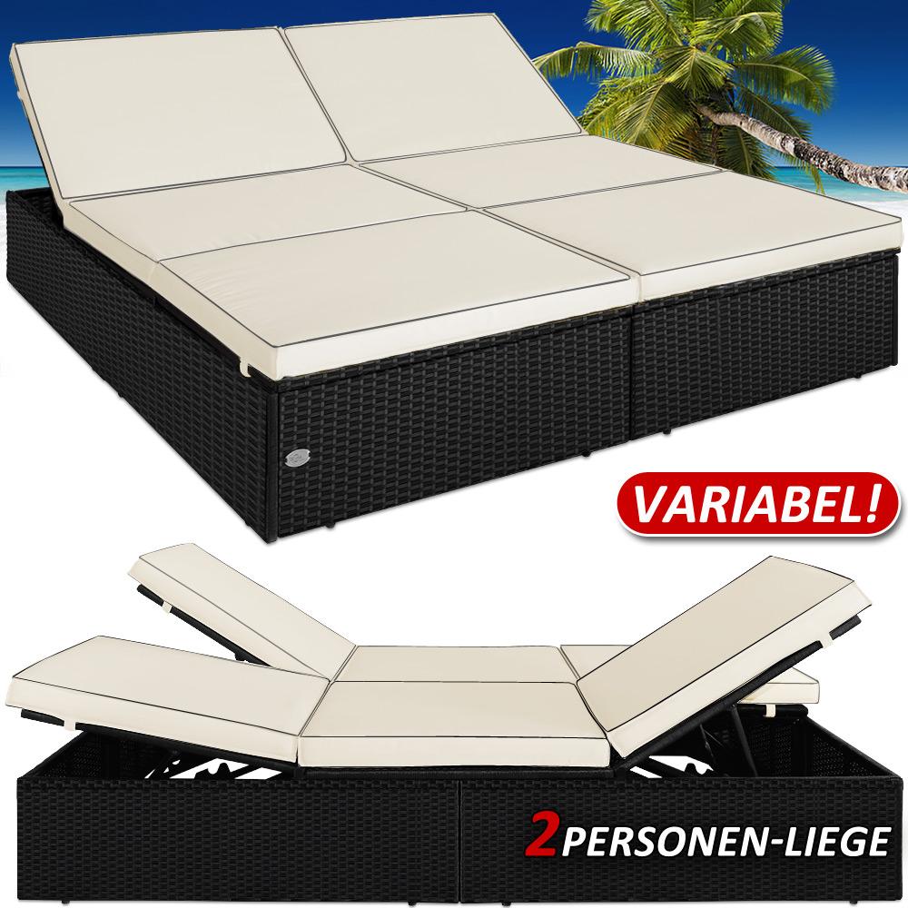 bain de soleil double jardin polyrotin 195x116cm canap sofa coussins 7cm pais ebay. Black Bedroom Furniture Sets. Home Design Ideas
