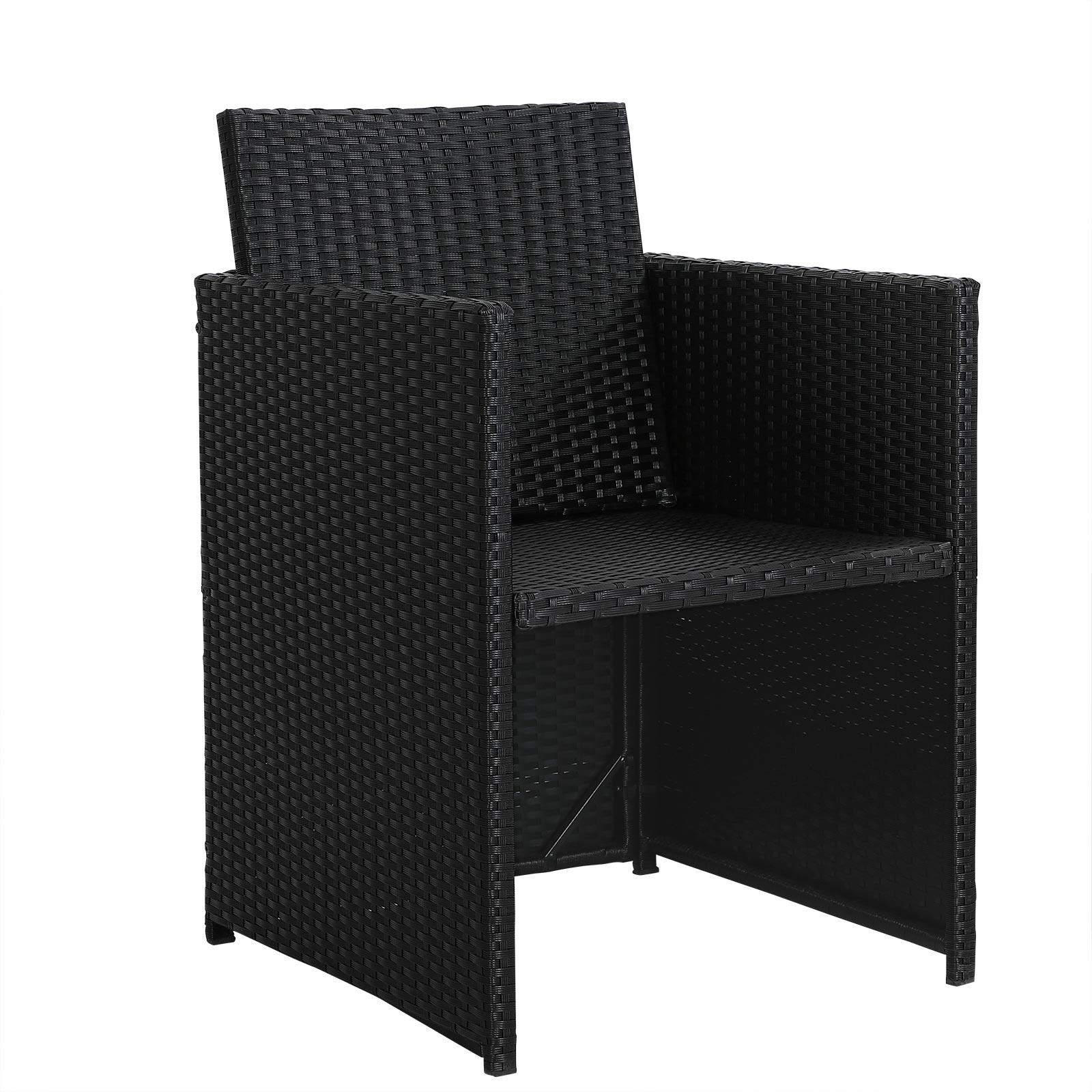 6er set poly ratten gartenst hle gartenm bel garten stuhl sessel kissen schwarz ebay. Black Bedroom Furniture Sets. Home Design Ideas