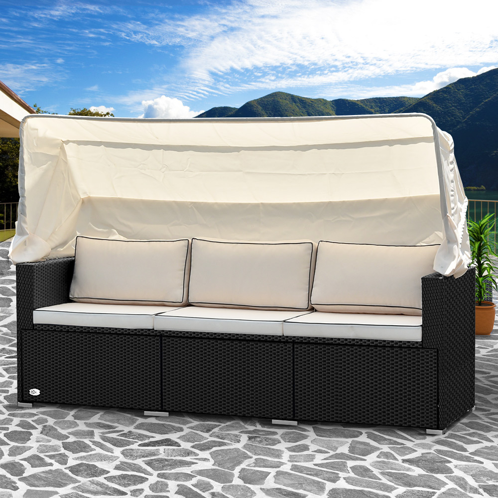 poly rattan lounge sofa bank couch dach gartenliege gartenlounge liege garten 4250525333473 ebay. Black Bedroom Furniture Sets. Home Design Ideas