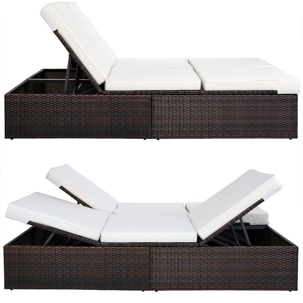 poly rattan garden sun lounger outdoor recliner wicker. Black Bedroom Furniture Sets. Home Design Ideas