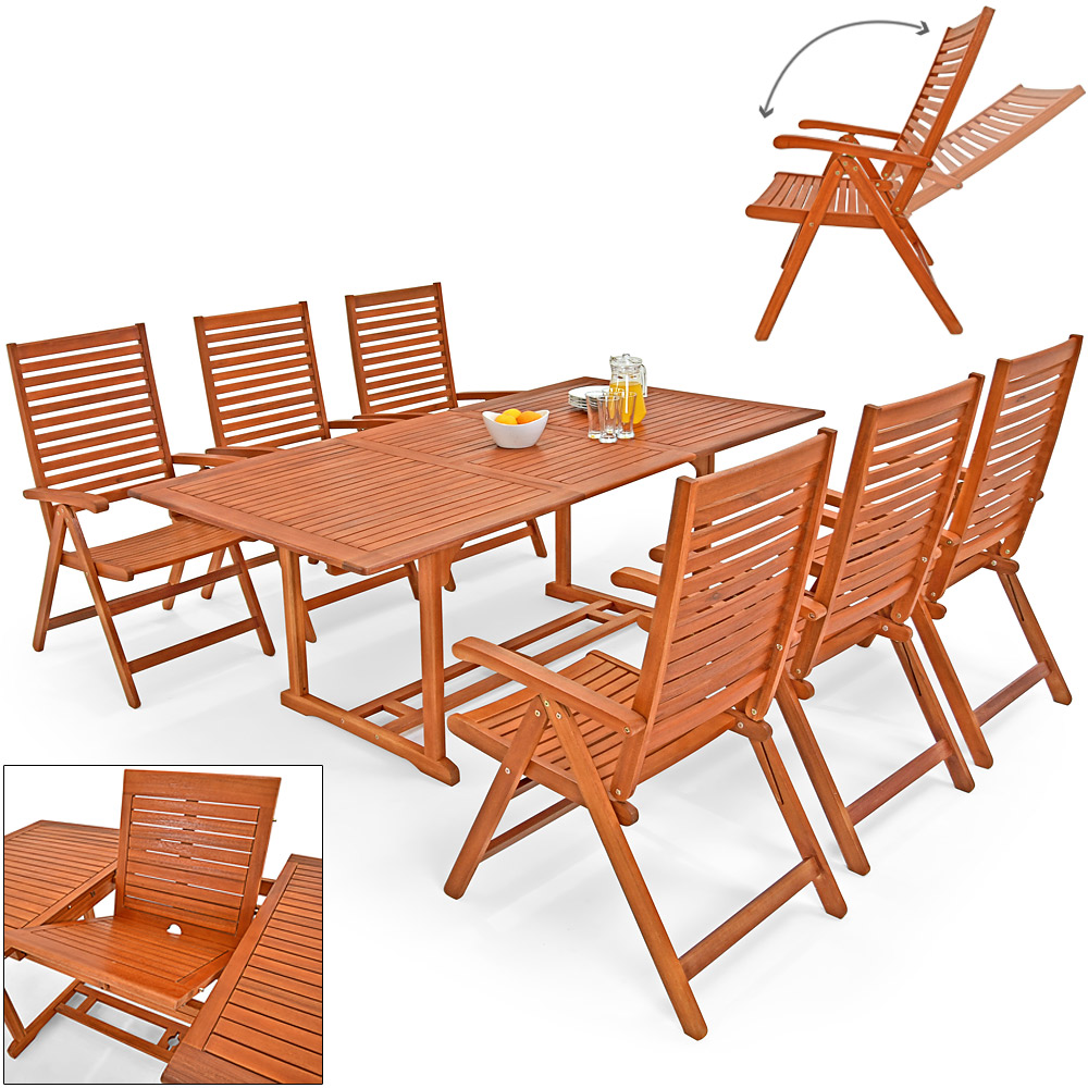 6 1 sitzgruppe unikko sitzgarnitur holz gartenm bel stuhl gartentisch ebay. Black Bedroom Furniture Sets. Home Design Ideas