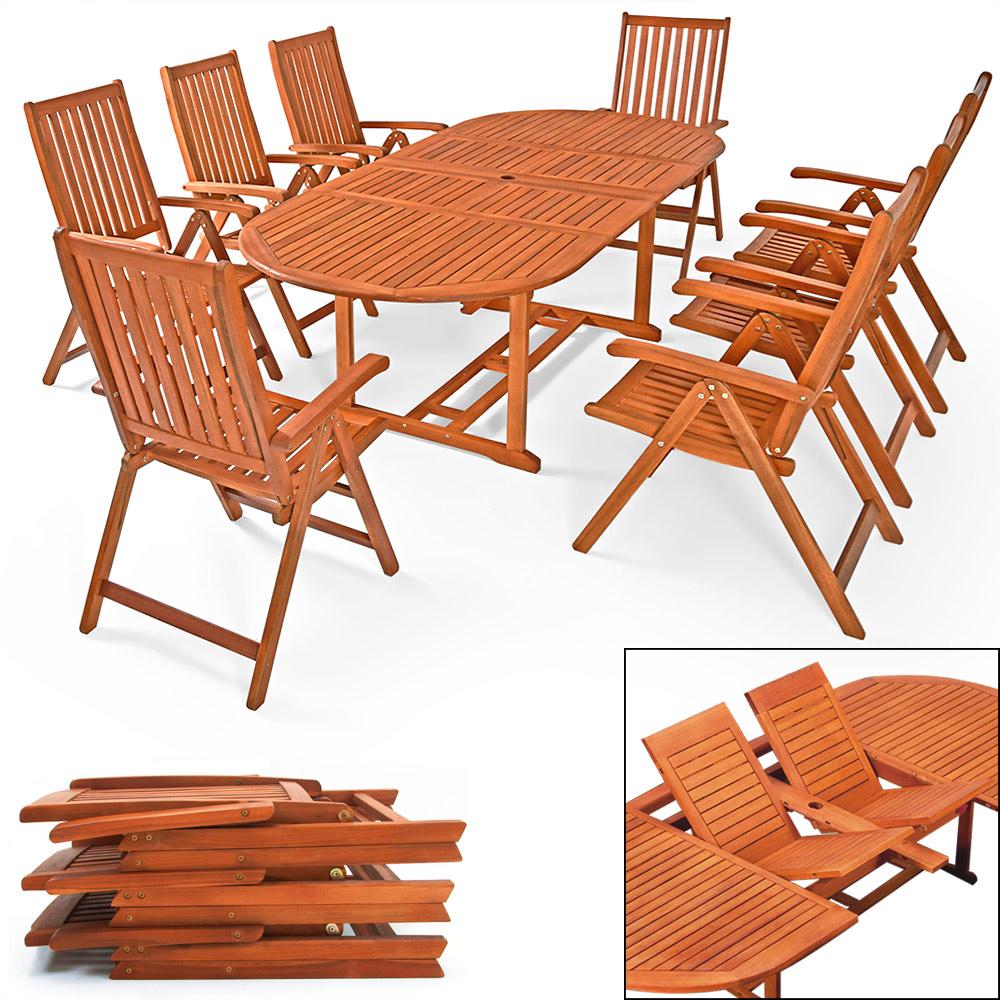 Détails sur Salon de jardin Moreno bois d\'eucalyptus Ensemble Table  extensible 8 chaises