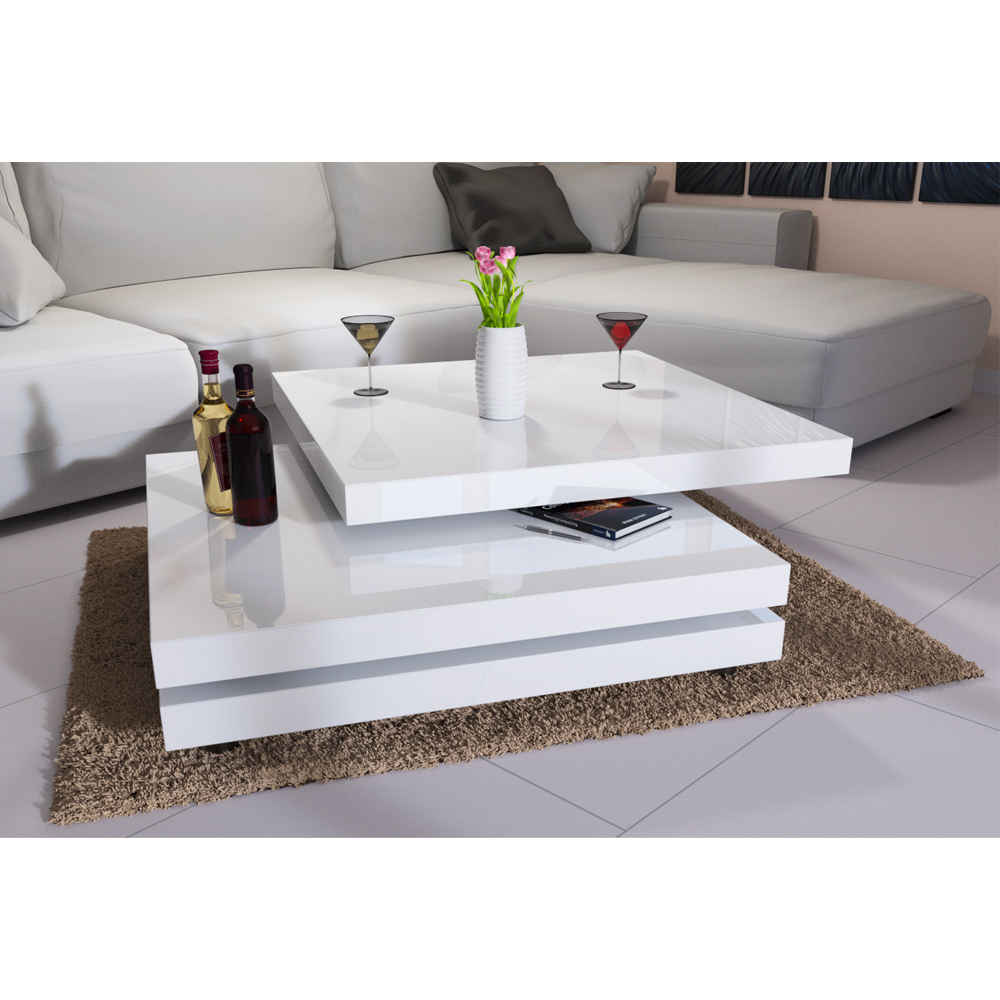 New Modern High Gloss White Rectangle Coffee Table Living: Rotating Coffee Table High Gloss Layers Modern Living Room