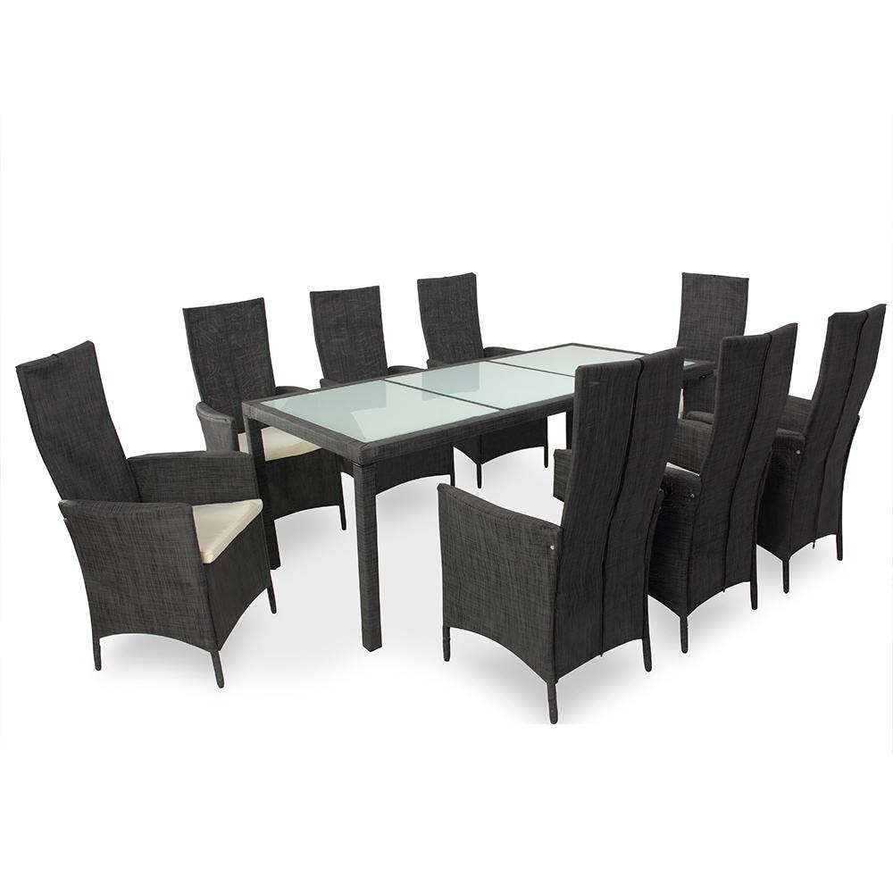 88991743 Poly Rattan Sitzgruppe glas tisch
