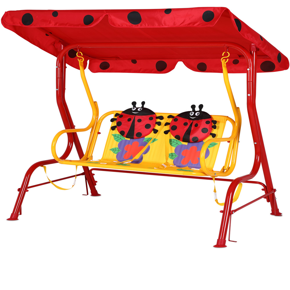 balancelle pour enfants jardin avec auvent rouge. Black Bedroom Furniture Sets. Home Design Ideas