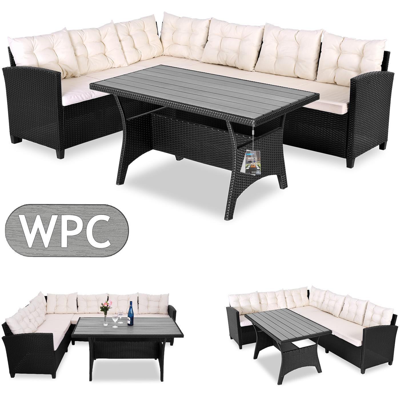 Deuba Poly Rattan Corner Sofa Set WPC Table Black Outdoor Garden ...