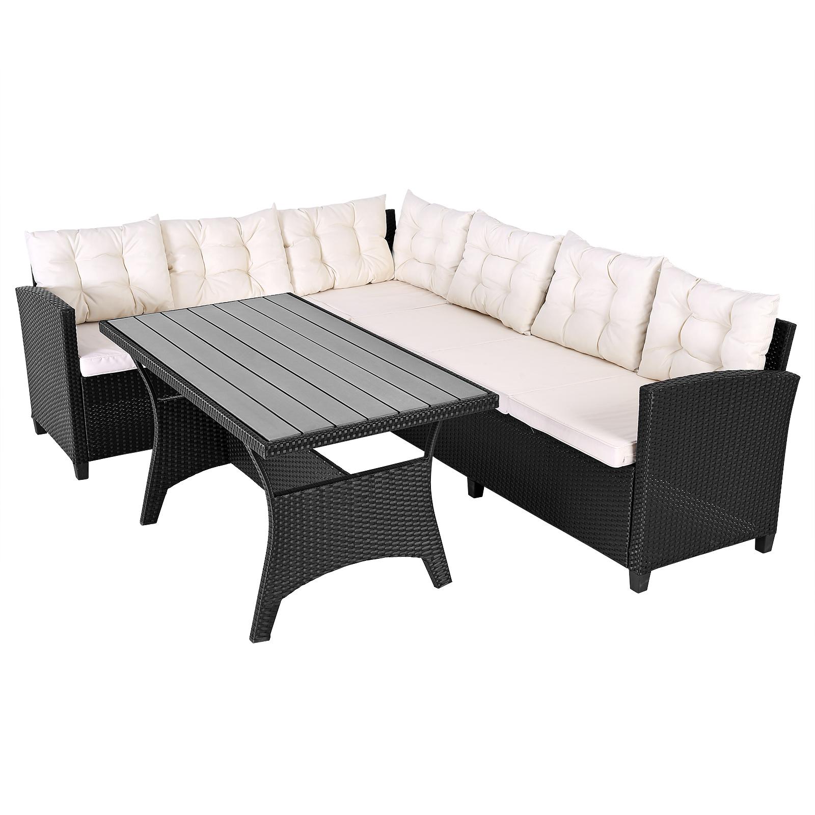 Deuba® Poly Rattan Ecklounge WPC Tisch Gartenmöbel Sitzgruppe Lounge ...
