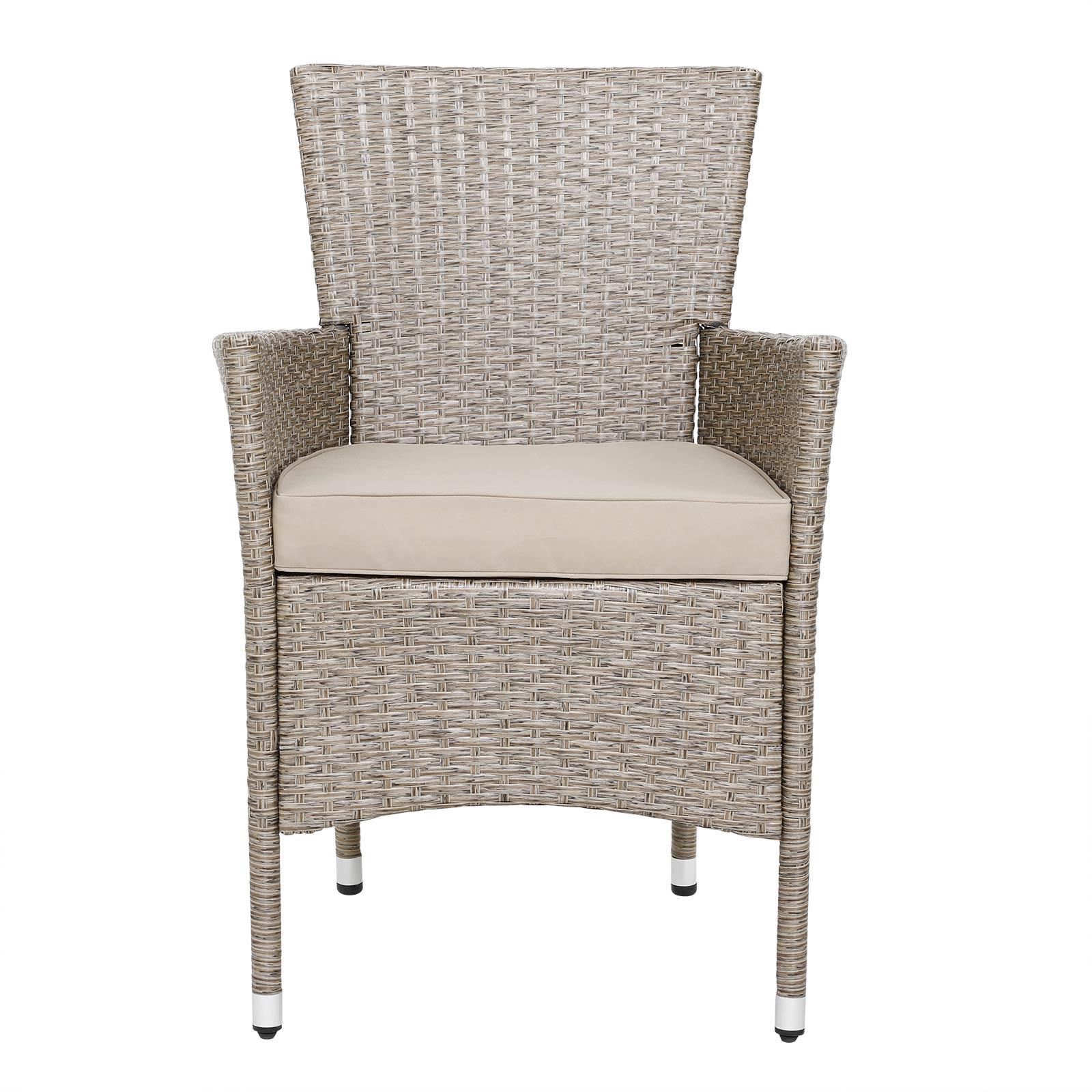 Détails sur Salon de jardin polyrotin gris beige 4 chaises table ensemble  de jardin complet