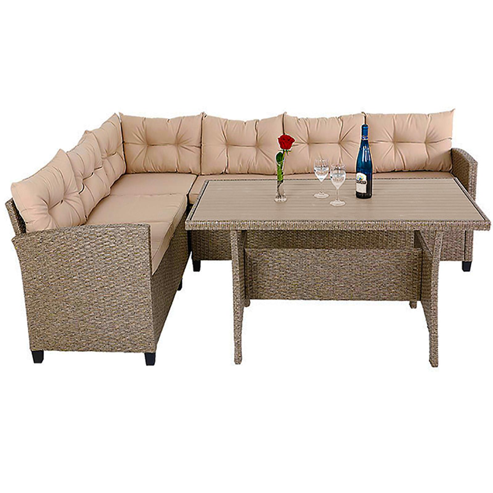 Poly Rattan Sitzgruppe Ecklounge Wpc Tisch Lounge Gartenmöbel Set
