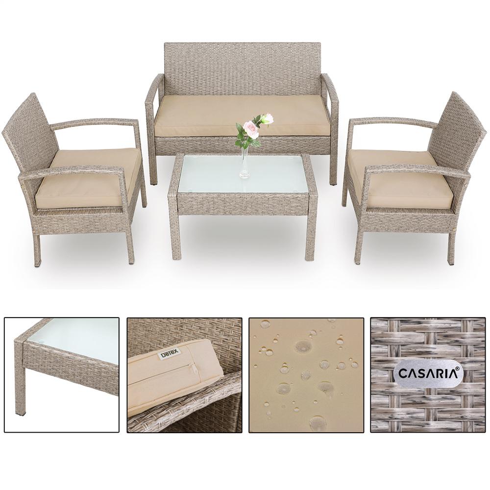 Détails sur Salon de jardin polyrotin gris/beige avec coussins meuble  jardin set terrasse
