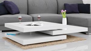 Verstellbarer Wohnzimmertisch in weiß